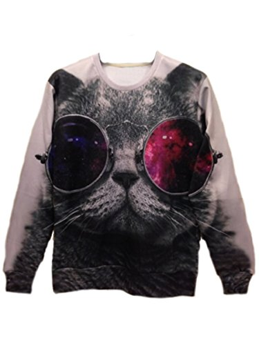 Tm Men Cool Rock Hip Hop 3D Cat Round Neck Sweater Shirts Outerwear Autumn