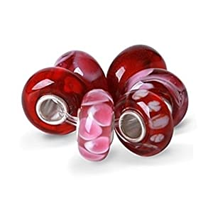 Bling Jewelry Garnet Color Murano Glass Bead Bundle Sets Sterling Silver Fits Pandora