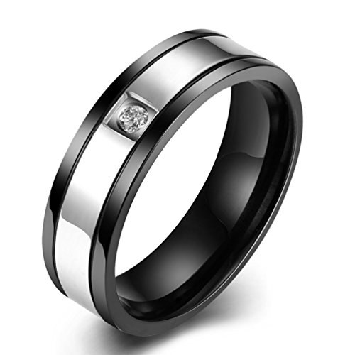 Mens Black Wedding Bands 6MM 316L Titanium Stainless Steel Solitaire CZ Crystal Promise Rings High Polished Finish Comfort Fit Size 8 (Custom Titanium Rings compare prices)