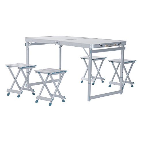 Big Save! Outsunny 4' Portable Folding Outdoor Picnic Table w/ 4 Seats - Silver