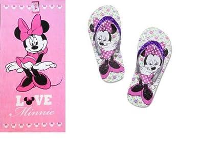 Minnie Mouse Flip Flops & Beach Towel Set Girls Size 11/12 Disney