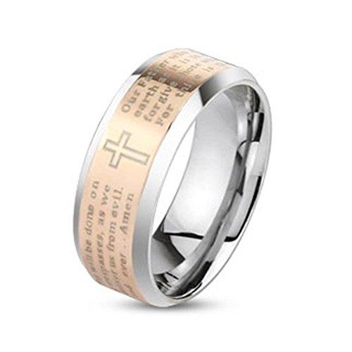 Paula & Fritz anello in acciaio INOX chirurgico 316L argento oro 6 o di 8 mm di larghezza Amen preghiera padre nostro Signore anello misure 47 (15) 69 (22) R-M4058R, Acciaio inossidabile, 13, colore: Oro, cod. R-M4058R_70