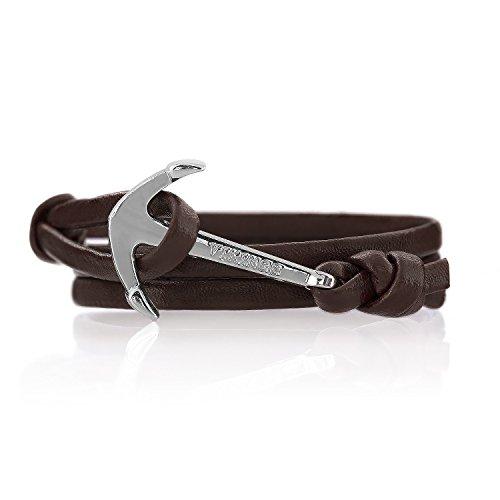 Anchor Bracelet Leather Dark Brown Bounty Ancora Braccialetto Cuoio Marrone, Ankerfarbe:Silber