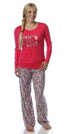 Women's Microfleece Pant Knit Top Lounge Set - Pop Fizz Clink - Medium