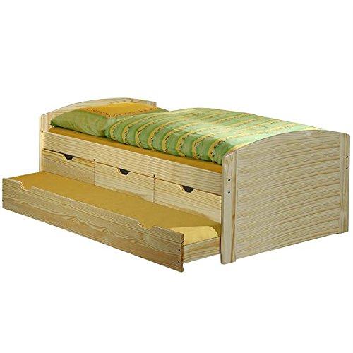 Lit gigogne rangements et tiroir-lit JULIA, 90 x 200 cm pin massif vernis naturel