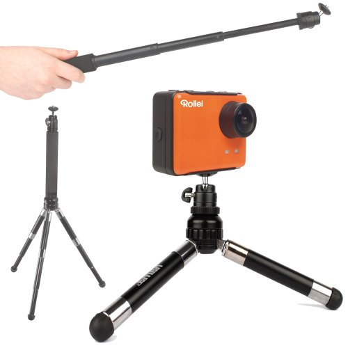 Duragadget 2-In-1 Selfie/Vlog Handheld Monopod Extension And Telescopic Tripod For Rollei S-50 Wifi Nitro Circus/Ski/Standard & Rollei 5S Wifi Action Cameras front-964143