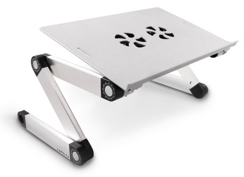 Lavolta Adjustable Vented Laptop Table Aluminium Notebook Desk Portable Stand Tray with Mouse Board and CPU Fan Cooling Pad - Silver (Cooler Desk compare prices)