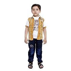 Colors Kids Shirt Tshirt Pant Set For Boys(4 - 5 Yrs) Yellow