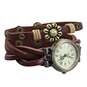 Generic NEW DESIGN Men Woman Retro Bracelet Weave Wrap Around Leather Wrist Watch Quartz