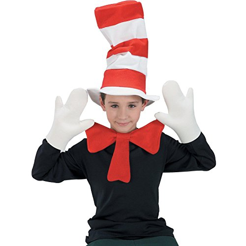 Cat In The Hat Youth Accessory Kit Hat Bow Tie Gloves Kids Boy Girl Dr Seuss