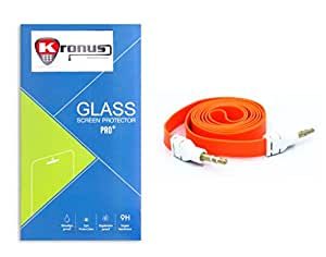 Kronus Auxiliary(AUX) Cable & 2.5D Curve edged Tempered Glass For XOLO ONE HD
