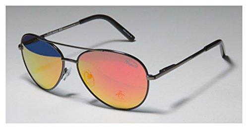 [Original Penguin The Max Mens/Womens Aviator Full-rim Sunglasses/Sun Glasses (57-15-128, Shiny Charcoal /] (Diy Aviator Costume)