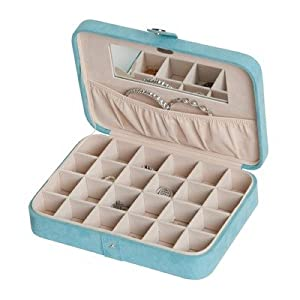 Mele Maria Blue Plush Fabric Jewelry Box and Ring Case with 24 Sections - 10.38W x 2.38H in.