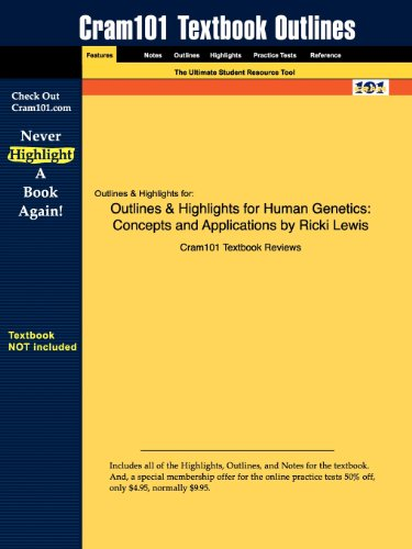 Studyguide for Human Genetics: Concepts and Applications by Ricki Lewis, ISBN 9780077221270