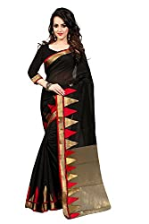Fabcart Red And Black Poly Cotton Saree with Blouse Piece