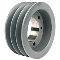 TB Woods 363B Classical V-Belt Sheave, B Belt Section, 3 Grooves, SH Bushing required, Ductile Iron, 3.95