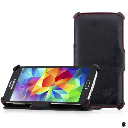Amazon Europe'S Best Seller - Manna Samsung Galaxy S5 Flip Case Cover Wallet With Stand | Genuine Nappa Leather 'Meerana' | Black