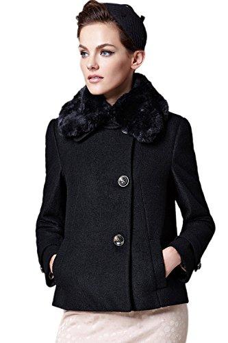 Oct.Legend Ladies British Vintage Lapel Neck Double-breasted Short Wool Coat XL Black