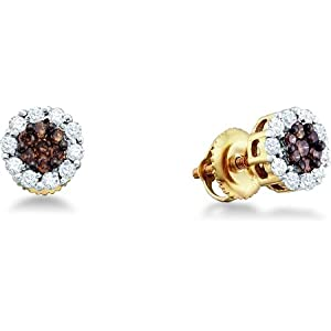 Click to buy ITEMNAMEGOESHEREChocolate Diamonds: 14K Yellow Gold White and Brown Chocolate Round Stud Earrings from Amazon!