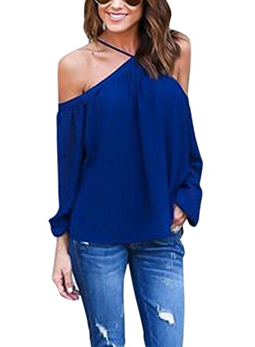 WLLW Women Chiffon Off Shoulder Long Sleeve Halter Neck Shirt Blouse Tops (Blue Halter Top compare prices)