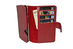 Premium Leather Fabric Card Holder Pouch for - Micromax X446 - Red - CHPRD45#1220DR