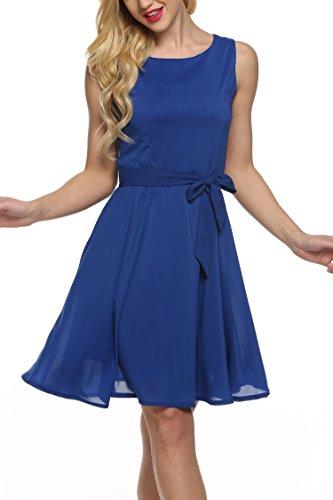 Zeagoo Women Chiffon Summer Sleeveless A-line Pleated Party Cocktail Dress, Blue, Medium