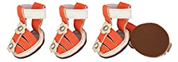 Buckle-Supportive Pvc Waterproof Pet Sandals Shoes - Set Of 4, X-Small, Orange