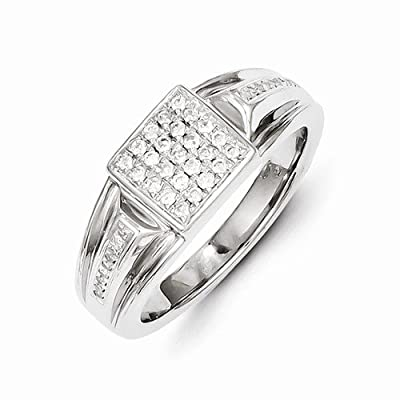 Solid 14k White Gold Diamond Men's Wedding Ring Band (1/3 cttw) (9mm)