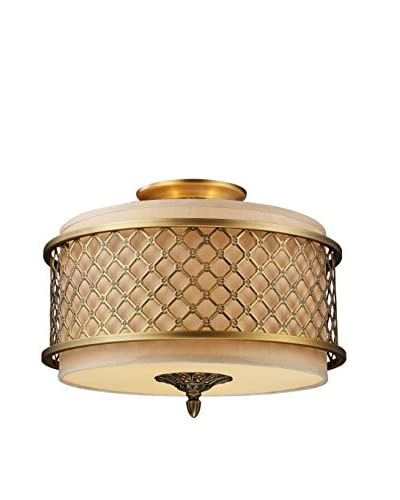 Artistic Lighting Semi Flush, Brushed Antique Brass