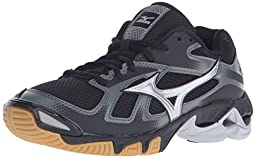 Mizuno Women\'s Wave Bolt 5 Volleyball Shoe, Black/Silver, 10 D US