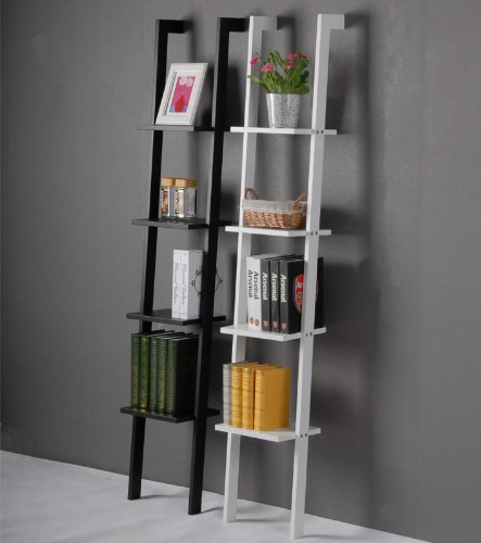 Modern ladder shelf made   of wood with four floors, stand shelf, wall shelf, 33x180cm FRG15-W (White)