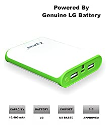 XYNUS RM-10400 mAh Power Bank With Genuine LG Battery (White-Green)