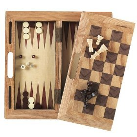 "Da Vinci 16"" Wood 3-in-1 Chess, Checkers, & Backgammon Set"