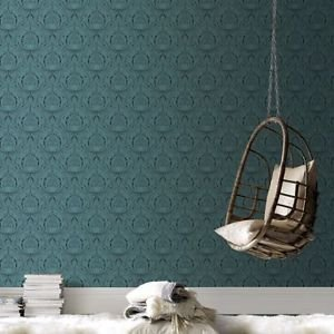Graham and Brown Voyesy Wallpaper - Turquoise by New A-Brend