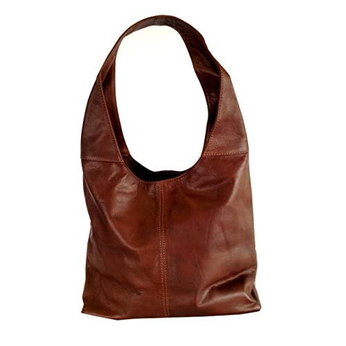Chestnut Brown Soft Italian Leather Handbag, Shoulder Bag or Slouch Bag