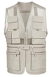 Eidlvais Men\'s Casual Mesh Vest For Outdoor Sports Fishing Beige white Size XL