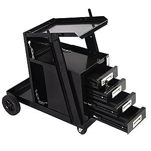 Goplus® Welding Welder Cart MIG TIG ARC Plasma Cutter Tank Storage w/ 4 Drawer Cabinet from Superbuy