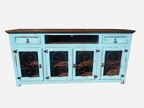 Hi End Rustic Medieval Hand Scrape 80 inch TV Stand Blue Distressed Reclaimed Wood Look Distressed White 2 Door Cabinet