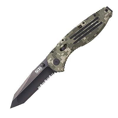 "SOG Aegis Assisted Folding Knife AE04-CP - Digi Camo, Black TiNi, Tanto, Partially Serrated, 3.5"" Blade, GRN Handle"