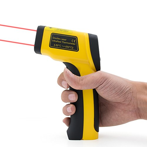 Sanrui Digital Dual Laser Infrared Thermometer Non Contact with Backlight  LCD Display, Storage Bag and Battery Included