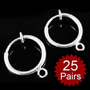 Aspire 18K Silver Plated 1.3cm Clip On Earring Findings Wholesales (Price/50pcs)
