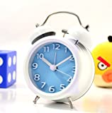 """Generic 3"""" Solid Metal Fresh Letter 2 Double Bell Desk Table Alarm Clock (Blue)"""