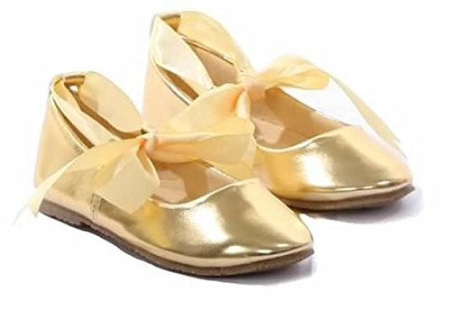 Ballerina Shoes Ribbon Tie Flower Girl Ballet Flats Holy Communion Baptism Gold