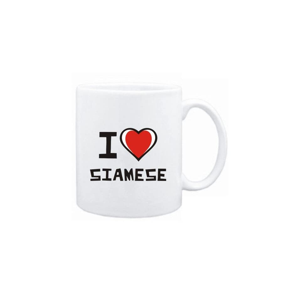 Mug White I love Siamese  Cats
