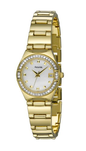 Accurist Ladies Gold Tone Stone Set Bracelet Watch LB1660 With Mother Of Pearl Dial