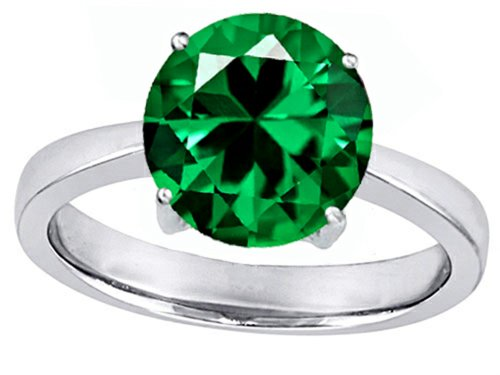 Original Star K(tm) Large Solitaire Big Stone Ring with 10mm Round Simulated Emerald