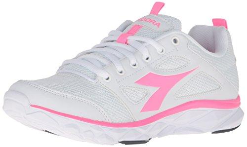 Diadora Women's Hawk 6 W running Shoe, White/Pink Fluorescent, 8.5 M US