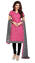 Khoobee Presents Embroidered Chanderi Dress Material (Pink,Black)