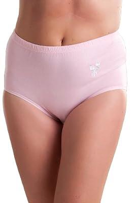 3er Pack : Passionelle Damen Weich 100% Baumwolle Slips mit Stickerei