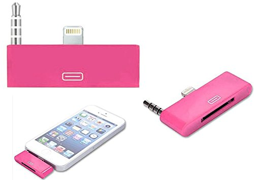 GadgetinBox™ - (Pink) 8 Pin to 30 Pin Audio Converter Adapter Connector Docking For Apple iPhone 5 5S 5C iPod Touch 5